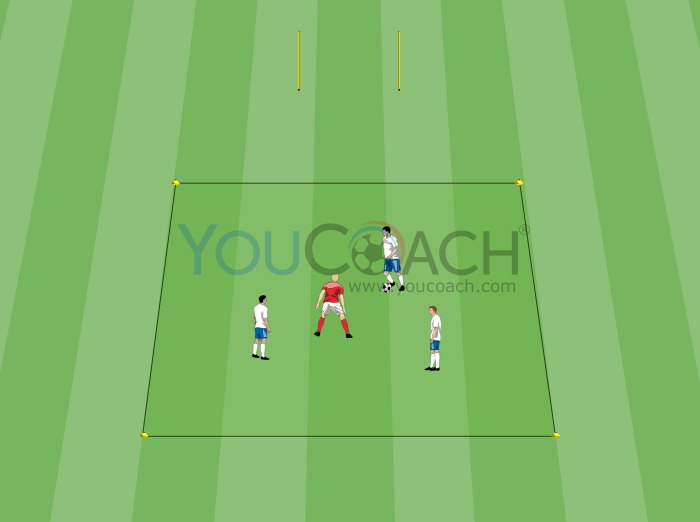 3 vs 1 to train ball possession and transitions