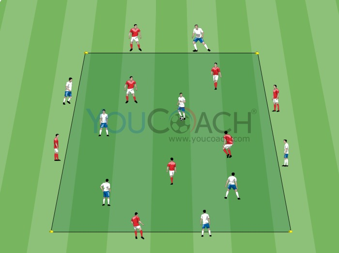 4 + 4 vs 4 + 4: Ball possession getting in and out